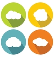 Cloud flat icons on color background with long vector image