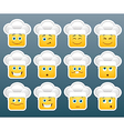 Cooking emoticon smile stickers vector image vector image