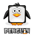 cute cartoon square penguin vector image vector image