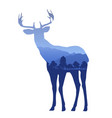 deer silhouette with double exposure effect with vector image vector image