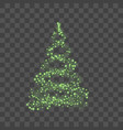 green christmas tree on transparent background vector image vector image