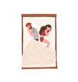 happy young couple sleeping back to back at night vector image
