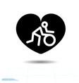 heart black icon the man rolls the wheel vector image vector image