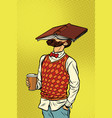 hipster drinks coffee and reads a book vector image vector image