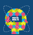 human silhouette with abstrac brain puzzle vector image vector image
