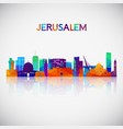 jerusalem skyline silhouette in colorful vector image vector image