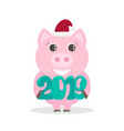 lovely for the new year 2019 with a pig vector image