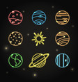 neon solar system planets icon set in line style vector image vector image