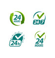 open 24 hours a day symbol or logo always vector image vector image