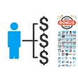 Person Payments Icon With 2017 Year Bonus Symbols vector image