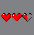 pixel art hearts for game vector image vector image