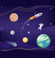 planets set and cosmonaut vector image vector image