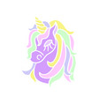 purple unicorn head icon on the white background vector image vector image