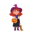 red haired girl witch standing with broom and vector image vector image