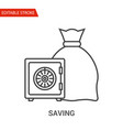 saving icon thin line vector image vector image