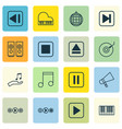 set of 16 multimedia icons includes note donate vector image vector image