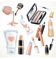Set of cosmetics objects in beige color lipstick vector image vector image