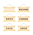 set of shop notice boards vector image vector image