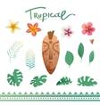 set tropical plants vector image vector image