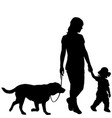 silhouettes of woman with kid and dog vector image vector image
