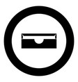 stationary paper tray black icon in circle vector image vector image
