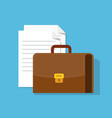 suitcase and paper documents leather briefcase vector image