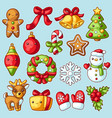 sweet merry christmas set cute characters vector image