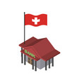 swiss bank financial building and flag of vector image