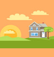 three storey house in rural countryside vector image