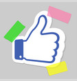 thumbs up paper blue emblem like icon applique vector image vector image