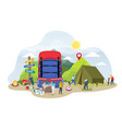 tourist camping cartoon tiny people vector image vector image