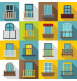 window forms icons set balcony flat style vector image vector image