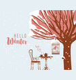 winter street cafe under tree and bird in cage vector image vector image