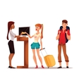 Young couple of tourists bought a hotel room vector image