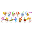 zoo alphabet funny animals 3d icons set letters a vector image vector image