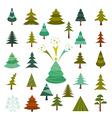 Christmas tree icon set Flat design vector image