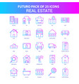 25 blue and pink futuro real estate icon pack vector image