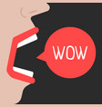 abstract woman speaks wow vector image