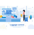 airport luggage control flat ad banner vector image