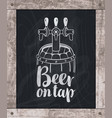 beer barrel drawing chalk on board in wooden frame vector image vector image