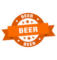 beer ribbon beer round orange sign beer vector image vector image