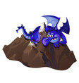 big fabulous blue dragon embracing stone mountain vector image vector image
