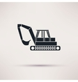 black Excavator icon on light background vector image