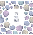 border shell frame hand drawn seashells in vector image
