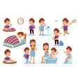 boy routine kid daily activities little child vector image