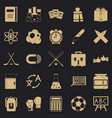 campus icons set simple style vector image vector image