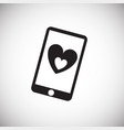 cell phone with heart on white background vector image