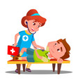 Child play doctor lying unconscious on bench and