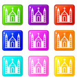christian catholic church building set 9 vector image vector image