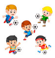 collection of soccer children player vector image vector image